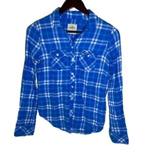 Hollister Flannel in Blue and White